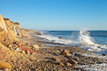 High Surf along Rocky Shoreline of Moshup Beach with Colorful Cliffs, Martha's Vineyard, Aquinnah, MA