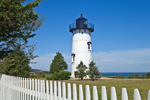 East Chop Lighthouse with White Picket Fence, Martha's Vineyard, Oak Bluffs, MA