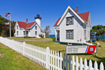 West Chop Lighthouse with White Picket Fence and Coast Guard Station, Martha's Vineyard, Tisbury, MA