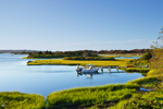 Salt Marsh and Boat on Nashaquitsa Pond in Early Evening Light, Martha's Vineyard, Chilmark, MA