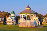 Gazebo and Gingerbread House at Ocean Park in Early Morning Light, Martha's Vineyard, Oak Bluffs, MA