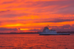 Dramatic Sunset and Fishers Island Ferry