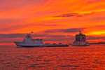 "Dramatic Sunset at New London Ledge Light with Fishers Island Ferry ""Race Point"", Long Island Sound, New London, CT"