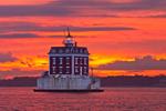 Dramatic Sunset at New London Ledge Light, Long Island Sound, New London, CT