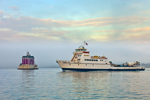 """Fishers Island Ferry """"Race Point"""" and New London Ledge Light, Long Island Sound, New London, CT"""