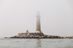 Little Gull Island Light in Morning Fog, Long Island Sound, Long Island, Southold, NY