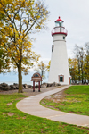 Marblehead Lighthouse with Walkway, Built 1821, Marblehead Lighthouse State Park, Lake Erie, Marblehead, OH