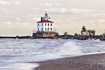 Fairport Harbor West Breakwater Lighthouse and High Surf on Beach at Headlands State Park, Lake Erie, Fairport, OH