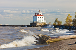 Fairport Harbor West Breakwater Lighthouse and High Surf on Beach with Driftwood at Headlands State Park, Lake Erie, Fairport, OH