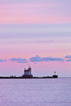 Fairport Harbor West Breakwater Lighthouse at Sunrise, Confluence of Grand River and Lake Erie, Fairport, OH
