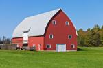 Three-story Red Barn and Wooden Wagon, Oneida County, Camden, NY