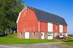 Big Red Barns with White Trim, Great Lakes Seaway Trail near Lake Ontario, Wayne County, Williamson, NY