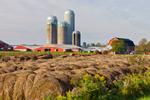 Red Barns, Silos, and Round Haybales, Great Lakes Seaway Trail, Lake Ontario Region, Somerset, NY