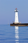 Sailboat Approaching Outer Sodus Lighthouse (Sodus Point Pierhead Light), Sodus Bay on Lake Ontario, Great Lakes Seaway Trail, Sodus, NY