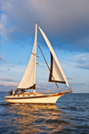 "Bayfield 32 Cutter-rigged Sailboat ""Brown Eyes"" Under Sail on Long Island Sound, Groton, CT"