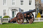 Cannon (1814) in Cannon Square with Historical Home (Built 1863) in Background, Stonington Borough, Stonington, CT