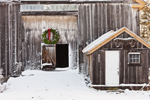 Close-up Detail of Wreath on Barn Door and Oxen Yoke on Small Shed at Cothlestone Farm in Winter, Royalston, MA
