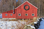 Big Red Barn with Holiday Wreath and Stone Wall, Dover, VT