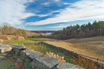 Stone Walls and Fields with Manchaug Pond in Distance, Sutton, MA
