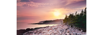 View from Ocean Drive to Otter Cliffs at Sunset, Acadia National Park, Bar Harbor, ME