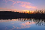 Sunset with Reflections at Fleetwood Pond, Prime Hook National Wildlife Refuge, Broadkill Neck, Sussex County, DE