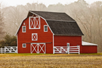 Red Barn with White Trim and Fence in Early Morning Fog, Berlin, MD