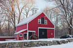 Red Barn and Stone Wall after Snowstorm, Sudbury, MA