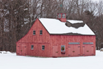 Red Barn with Cupola in Winter, Norfolk. MA