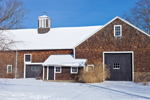 Big cedar-shingled Barn with Cupola in Winter, Framingham, MA