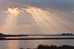 Sunbeams through Clouds over Salt Marshes and Sinepuxent Bay, Assateague Island National Seashore, Assateague Island, MD