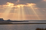 Sunbeams through Clouds over Salt Marshes and Sinepuxent Bay, Assateague Island National Seashore, Assateague Island, MD