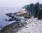 Light Snow on Cliffs and Monument Cove, View from Ocean Drive to Otter Cliffs, Acadia National Park, Mt Desert Island, ME