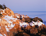 Early Morning Light on Rocky Coastline at Bass Harbor Head in Winter, Acadia National Park, Mt Desert Island, ME