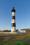 Early Morning Clear Blue Skies over Bodie Island Lighthouse, Cape Hatteras National Seashore, Outer Banks, Bodie Island, NC