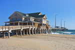 View of Jennette's Pier with Sandy Beach and Atlantic Ocean, Outer Banks, Nags Head, NC