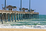 Close Up View of Jennette's Pier with High Surf in Atlantic Ocean, Outer Banks, Nags Head, NC