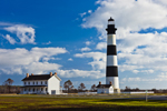 Bodie Island Lighthouse with Blue Sky and White Puffy Clouds, Cape Hatteras National Seashore, Outer Banks, Bodie Island, NC