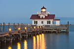 Roanoke Marshes Lighthouse at Dusk, Part of North Carolina Maritime Museum, Roanoke Island Festival Park, Outer Banks, Manteo, NC