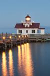 Roanoke Marshes Lighthouse at Dusk, Part of North Carolina Maritime Museum, Roanoke Island Festival Park, Outer Banks, Manteo, NC