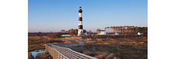 Boardwalk and Bodie Island Lighthouse in Early Morning Light, Cape Hatteras National Seashore, Outer Banks, Bodie Island, NC