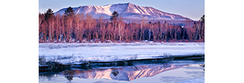 Mt Katahdin in Winter Reflecting in Compass Pond, Baxter State Park, Great North Woods, ME