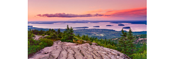 Overview of Bar Harbor and Porcupine Islands from Cadillac Mountain, Acadia National Park, Mt Desert Island, Bar Harbor, ME