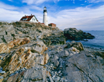 Rugged Rocky Coastline and Portland Head Light in Winter, Fort Williams Park, Cape Elizabeth, ME