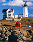 Nubble Light (Cape Neddick Light) on a Sunny Day, Cape Neddick, York, ME
