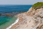 Atlantic Ocean and Cliffs at Black Rock Beach at end of Black Rock Road Trail, Rodman's Hollow, Town of New Shoreham, Block Island, RI
