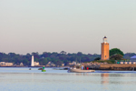 Avery Point and New London Lighthouses with Lobster Boat, Thames River and Long Island Sound, Groton and New London, CT