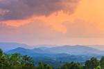 Mountain Layers under Dramatic Skies at Sunset, View of Nantahala Mountains and Nantahala National Forest, Macon County, Franklin, NC