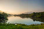 Early Morning Light on Hiwassee River with Blue Ridge and Chattahoochee National Forest in Background, Towns County, near Macedonia, GA