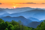 Sunset over Mountains in Great Smoky Mountains National Park, View from Mile High Overlook, Balsam Mountain Road, off Blue Ridge Parkway, NC