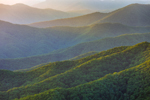 Late Evening Light on Mountain Layers of Great Smoky Mountains National Park, View from Mile High Overlook, Balsam Mountain Road, off Blue Ridge Parkway, NC